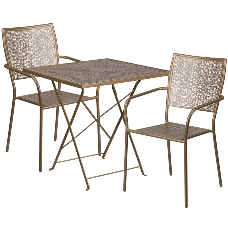 """Flash Furniture 28"""" Square Gold Indoor-Outdoor Steel Folding Patio Table Set with 2 Square Back Chairs"""