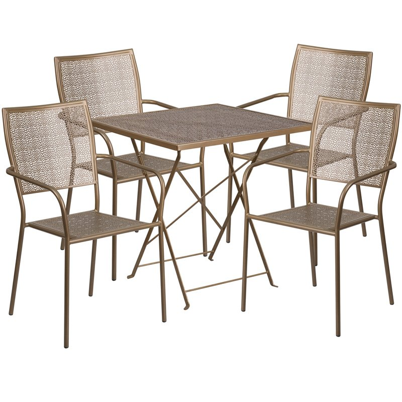 """Flash Furniture 28"""" Square Gold Indoor-Outdoor Steel Folding Patio Table Set with 4 Square Back Chairs"""