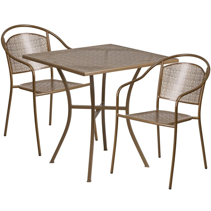 """Flash Furniture 28"""" Square Gold Indoor-Outdoor Steel Patio Table Set with 2 Round Back Chairs"""