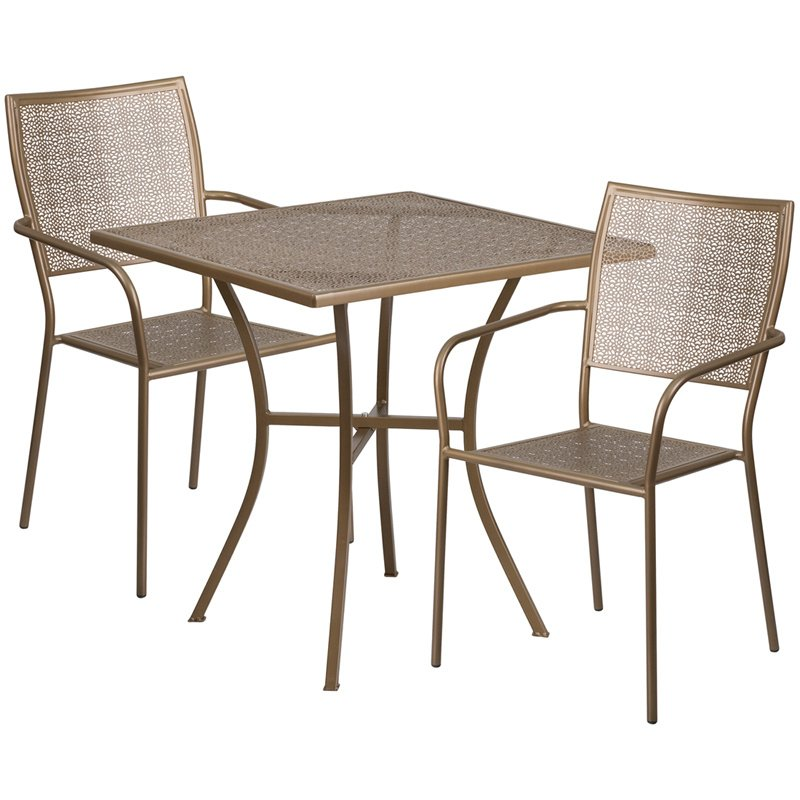 "Flash Furniture 28"" Square Gold Indoor-Outdoor Steel Patio Table Set with 2 Square Back Chairs"