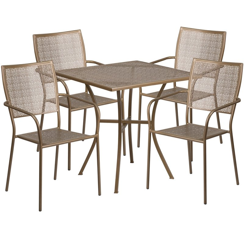 """Flash Furniture 28"""" Square Gold Indoor-Outdoor Steel Patio Table Set with 4 Square Back Chairs"""