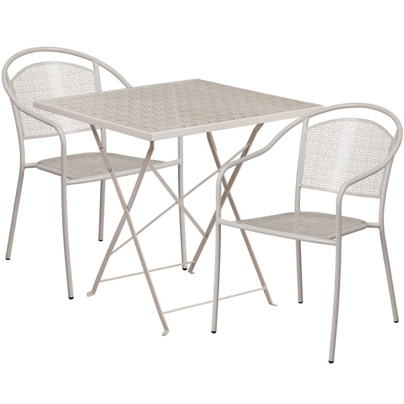 "Flash Furniture 28"" Square Light Gray Indoor-Outdoor Steel Folding Patio Table Set with 2 Round Back Chairs"