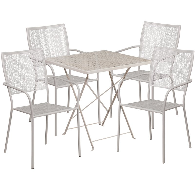"Flash Furniture 28"" Square Light Gray Indoor-Outdoor Steel Folding Patio Table Set with 4 Square Back Chairs"