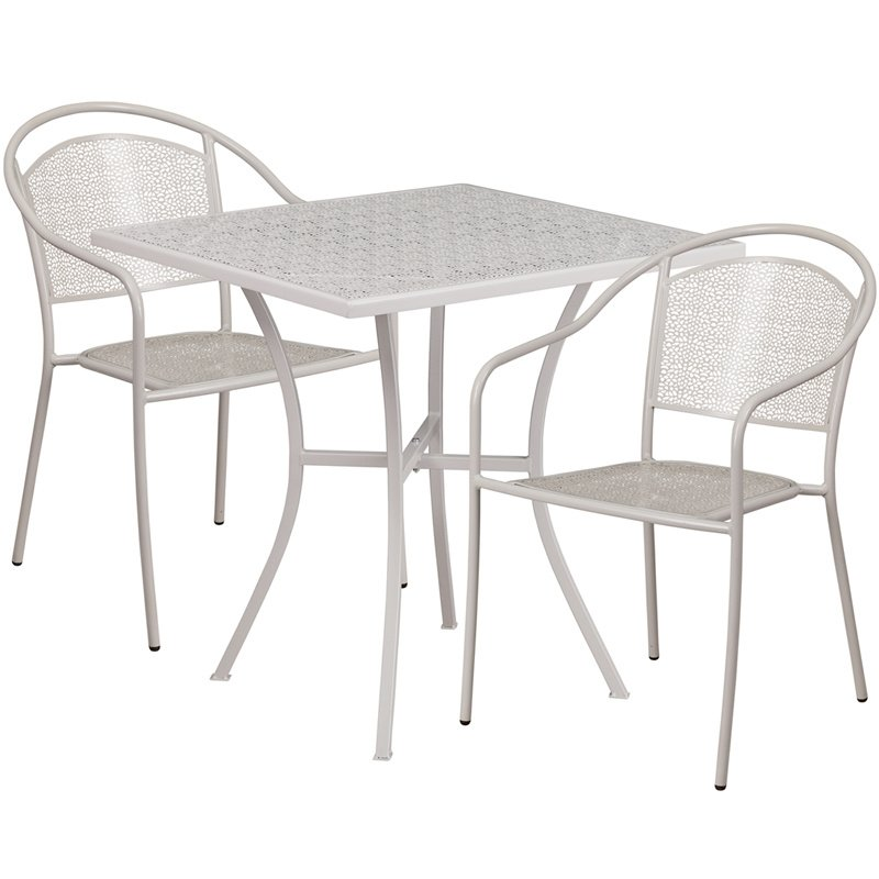 """Flash Furniture 28"""" Square Light Gray Indoor-Outdoor Steel Patio Table Set with 2 Round Back Chairs"""