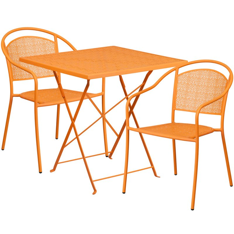 """Flash Furniture 28"""" Square Orange Indoor-Outdoor Steel Folding Patio Table Set with 2 Round Back Chairs"""