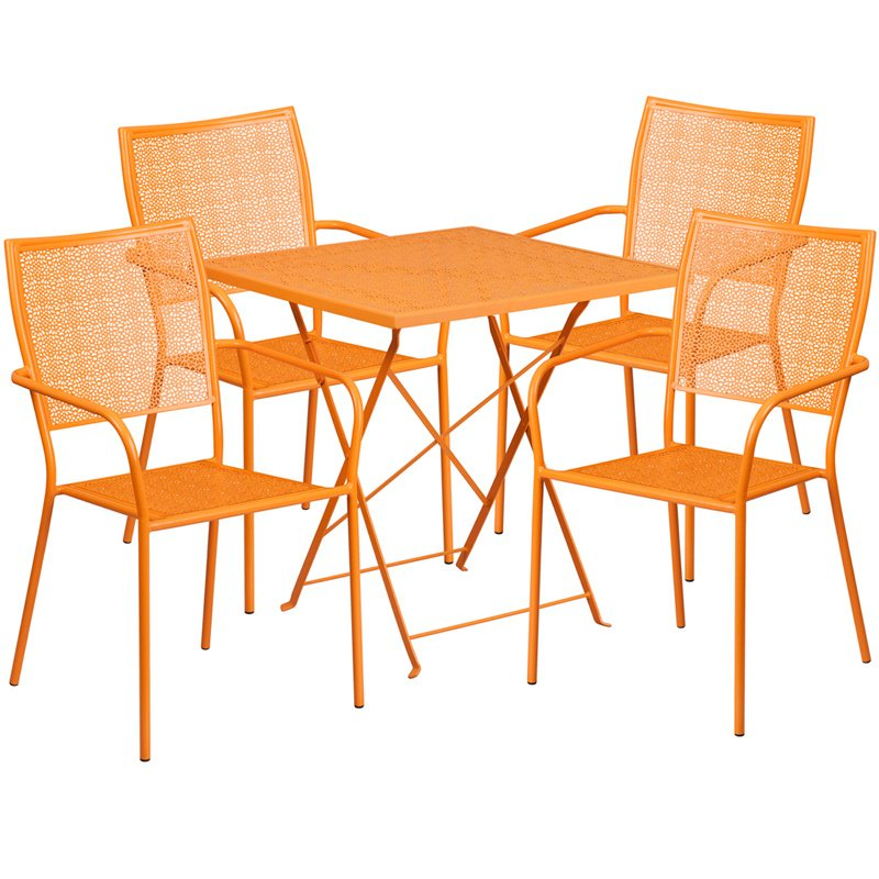 """Flash Furniture 28"""" Square Orange Indoor-Outdoor Steel Folding Patio Table Set with 4 Square Back Chairs"""
