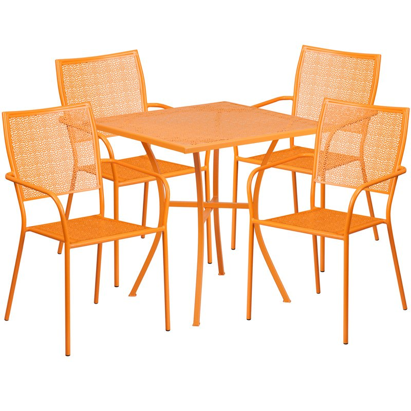 """Flash Furniture 28"""" Square Orange Indoor-Outdoor Steel Patio Table Set with 4 Square Back Chairs"""