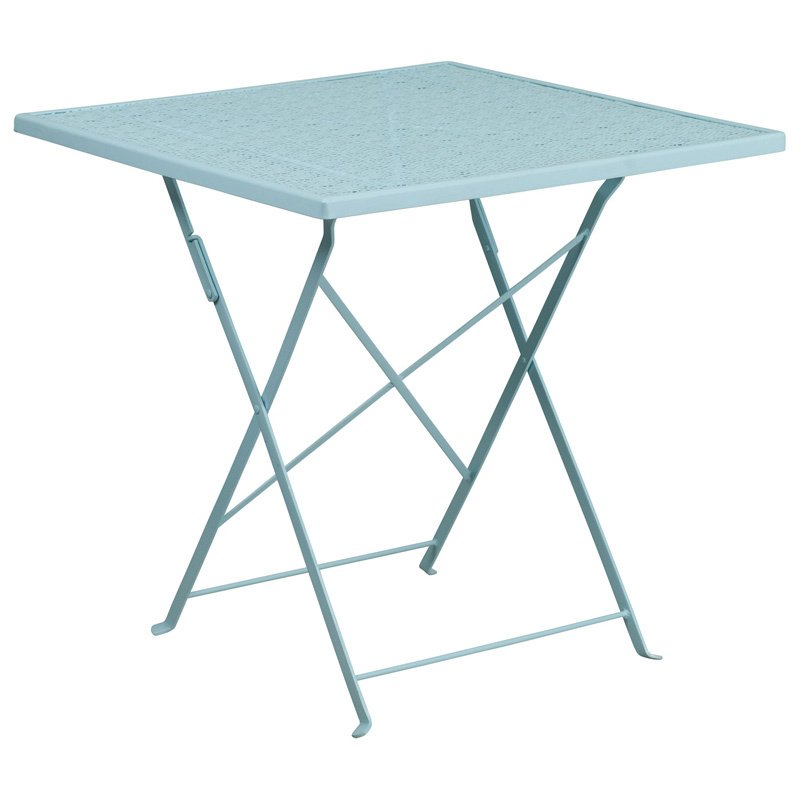 """Flash Furniture 28"""" Square Sky Blue Indoor-Outdoor Steel Folding Patio Table"""