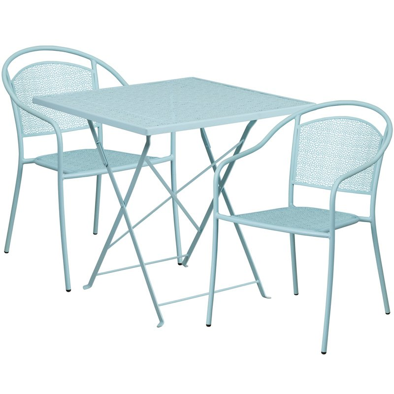"""Flash Furniture 28"""" Square Sky Blue Indoor-Outdoor Steel Folding Patio Table Set with 2 Round Back Chairs"""