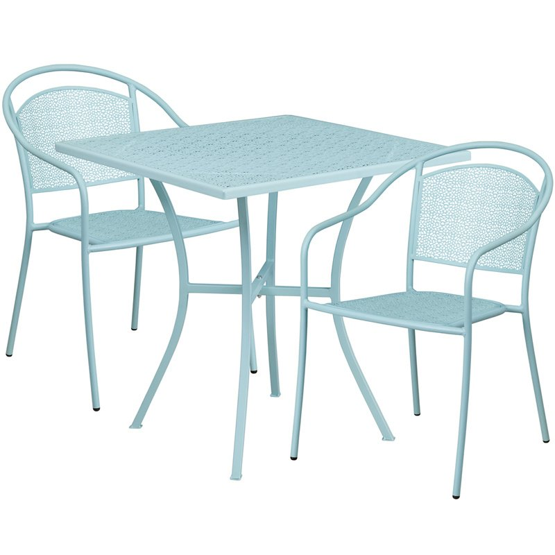 "Flash Furniture 28"" Square Sky Blue Indoor-Outdoor Steel Patio Table Set with 2 Round Back Chairs"