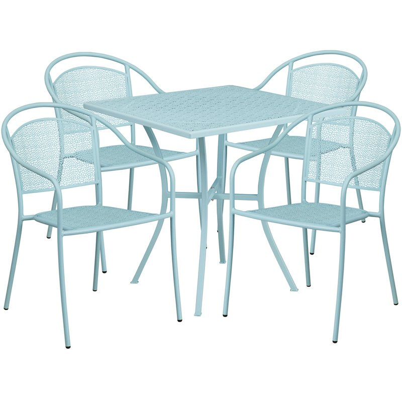 "Flash Furniture 28"" Square Sky Blue Indoor-Outdoor Steel Patio Table Set with 4 Round Back Chairs"