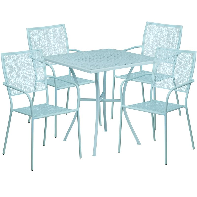 "Flash Furniture 28"" Square Sky Blue Indoor-Outdoor Steel Patio Table Set with 4 Square Back Chairs"