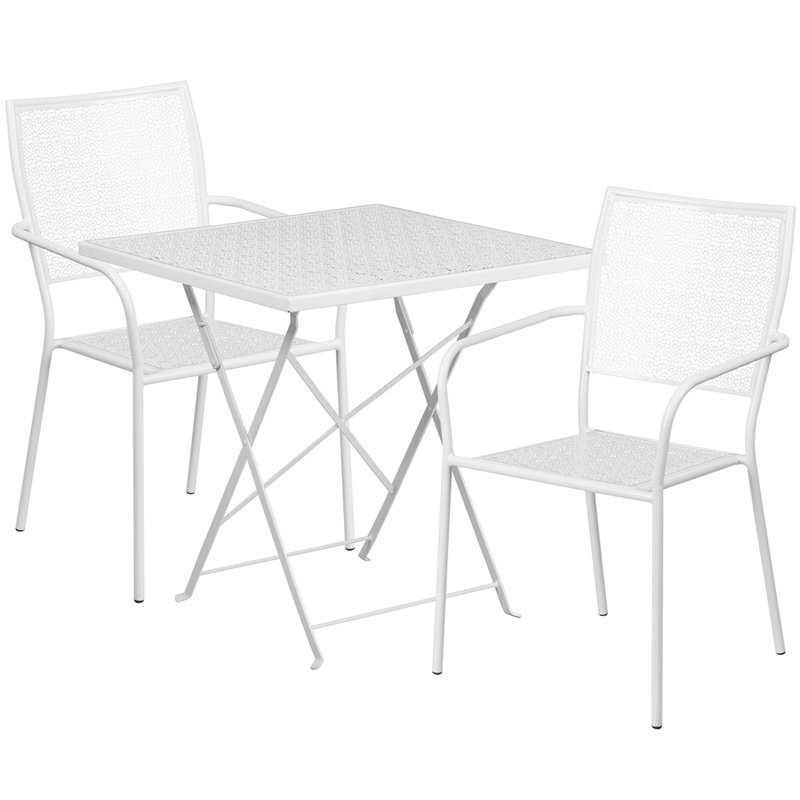 """Flash Furniture 28"""" Square White Indoor-Outdoor Steel Folding Patio Table Set with 2 Square Back Chairs"""