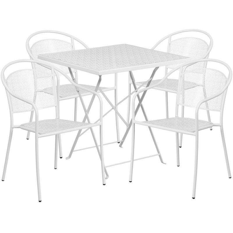 "Flash Furniture 28"" Square White Indoor-Outdoor Steel Folding Patio Table Set with 4 Round Back Chairs"