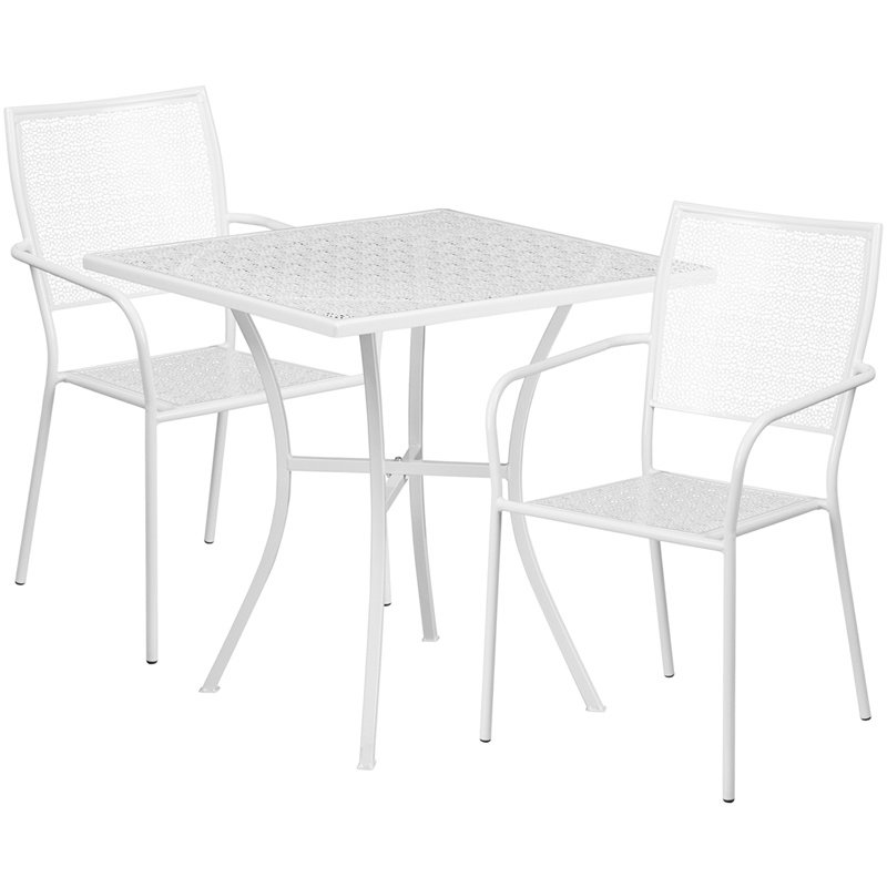 "Flash Furniture 28"" Square White Indoor-Outdoor Steel Patio Table Set with 2 Square Back Chairs"