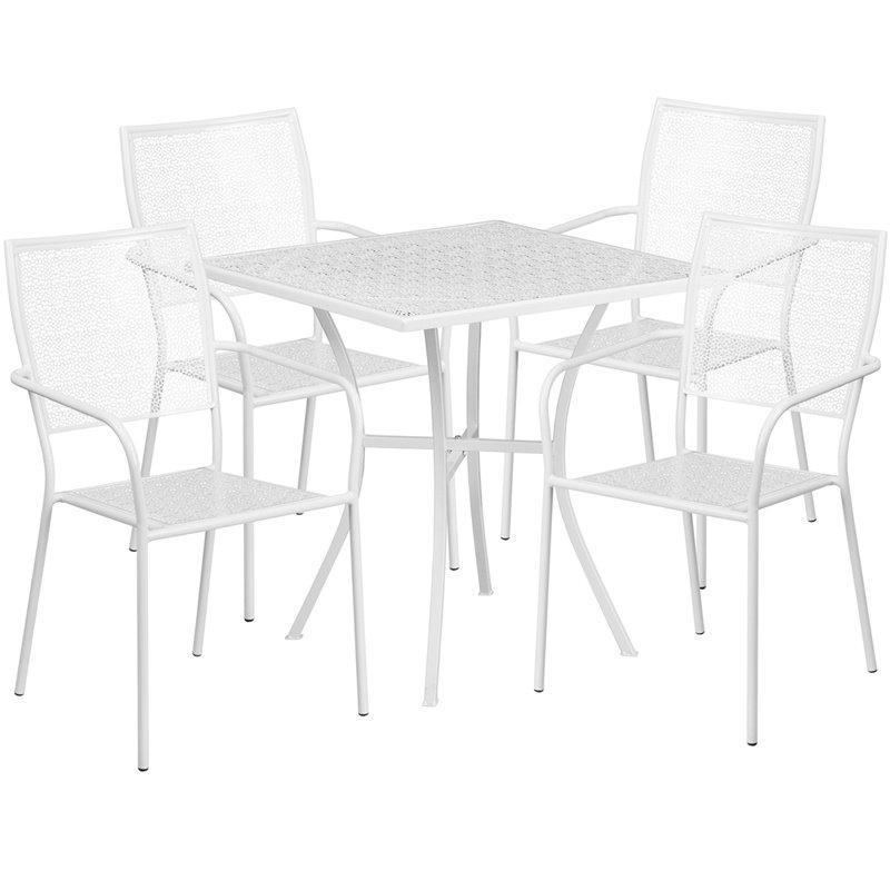 """Flash Furniture 28"""" Square White Indoor-Outdoor Steel Patio Table Set with 4 Square Back Chairs"""