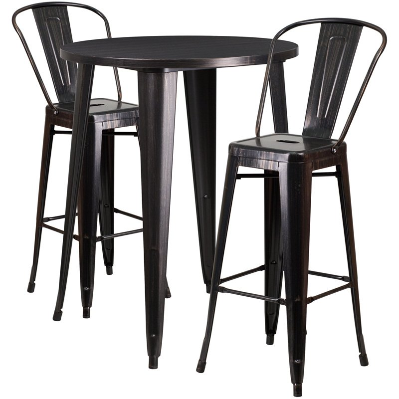 """Flash Furniture 30"""" Round Black-Antique Gold Metal Indoor-Outdoor Bar Table Set with 2 Cafe Barstools (CH-51090BH-2-30CAFE-BQ-GG)"""