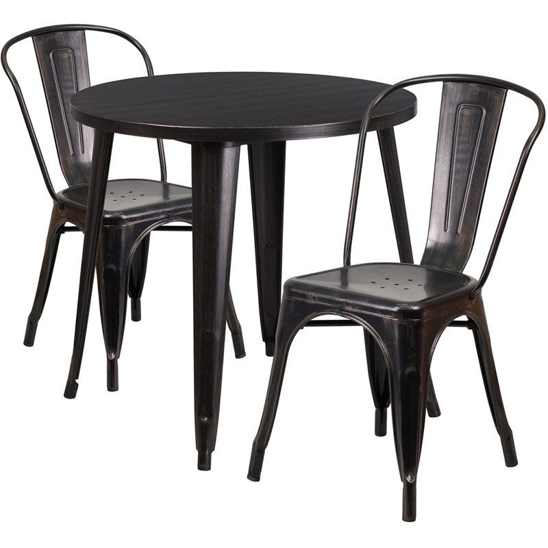 """Flash Furniture 30"""" Round Black-Antique Gold Metal Indoor-Outdoor Table Set with 2 Cafe Chairs (CH-51090TH-2-18CAFE-BQ-GG)"""
