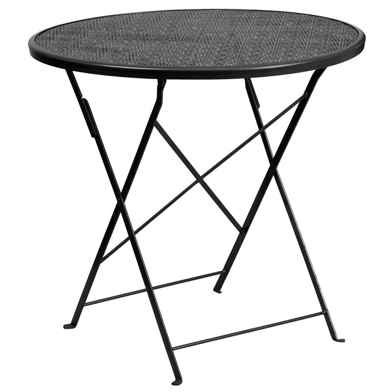 "Flash Furniture 30"" Round Black Indoor-Outdoor Steel Folding Patio Table (CO-4-BK-GG)"