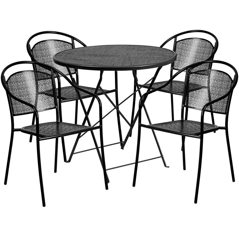 """Flash Furniture 30"""" Round Black Indoor-Outdoor Steel Folding Patio Table Set with 4 Round Back Chairs (CO-30RDF-03CHR4-BK-GG)"""