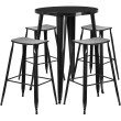 """Flash Furniture 30"""" Round Black Metal Indoor-Outdoor Bar Table Set with 4 Backless Saddle Seat Barstools (CH-51090BH-4-ET30ST-BK-GG)"""