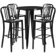 "Flash Furniture 30"" Round Black Metal Indoor-Outdoor Bar Table Set with 4 Vertical Slat Back Barstools (CH-51090BH-4-30VRT-BK-GG)"