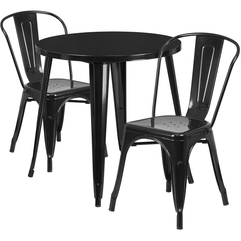 """Flash Furniture 30"""" Round Black Metal Indoor-Outdoor Table Set with 2 Cafe Chairs (CH-51090TH-2-18CAFE-BK-GG)"""