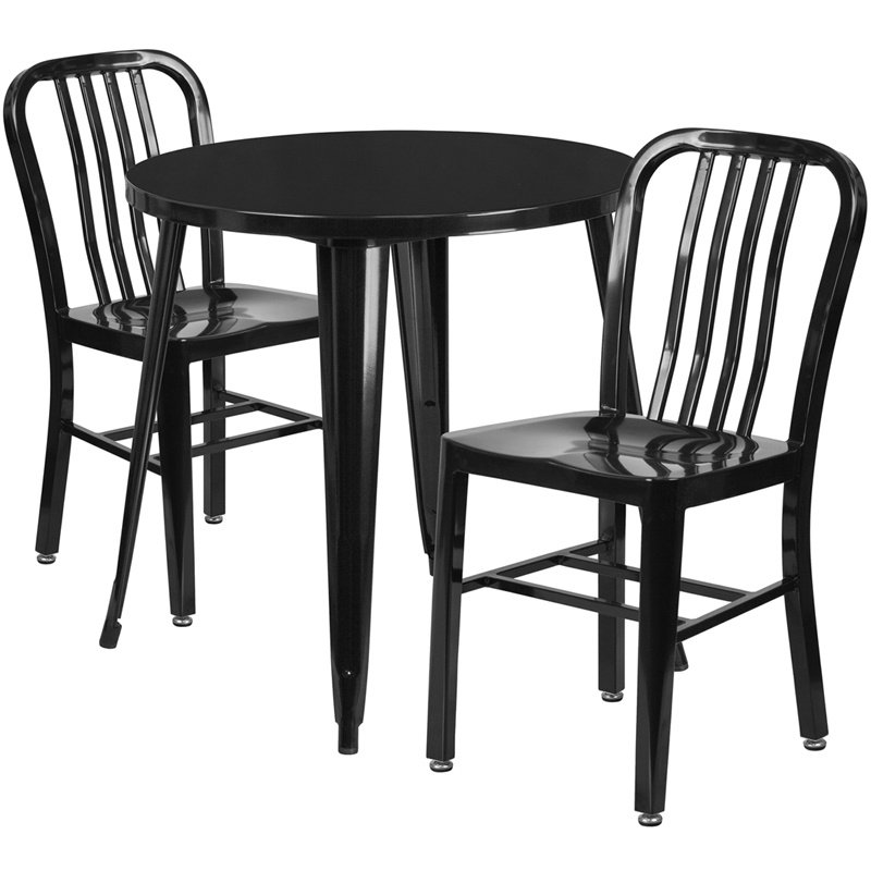 """Flash Furniture 30"""" Round Black Metal Indoor-Outdoor Table Set with 2 Vertical Slat Back Chairs (CH-51090TH-2-18VRT-BK-GG)"""