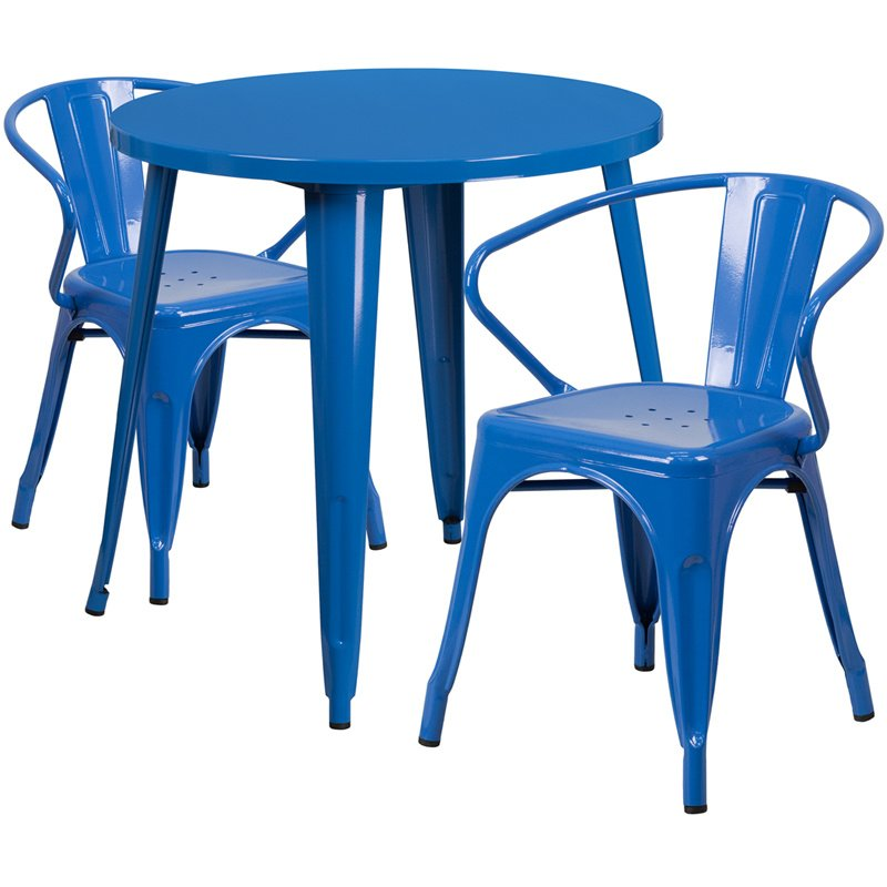 """Flash Furniture 30"""" Round Blue Metal Indoor-Outdoor Table Set with 2 Arm Chairs (CH-51090TH-2-18ARM-BL-GG)"""