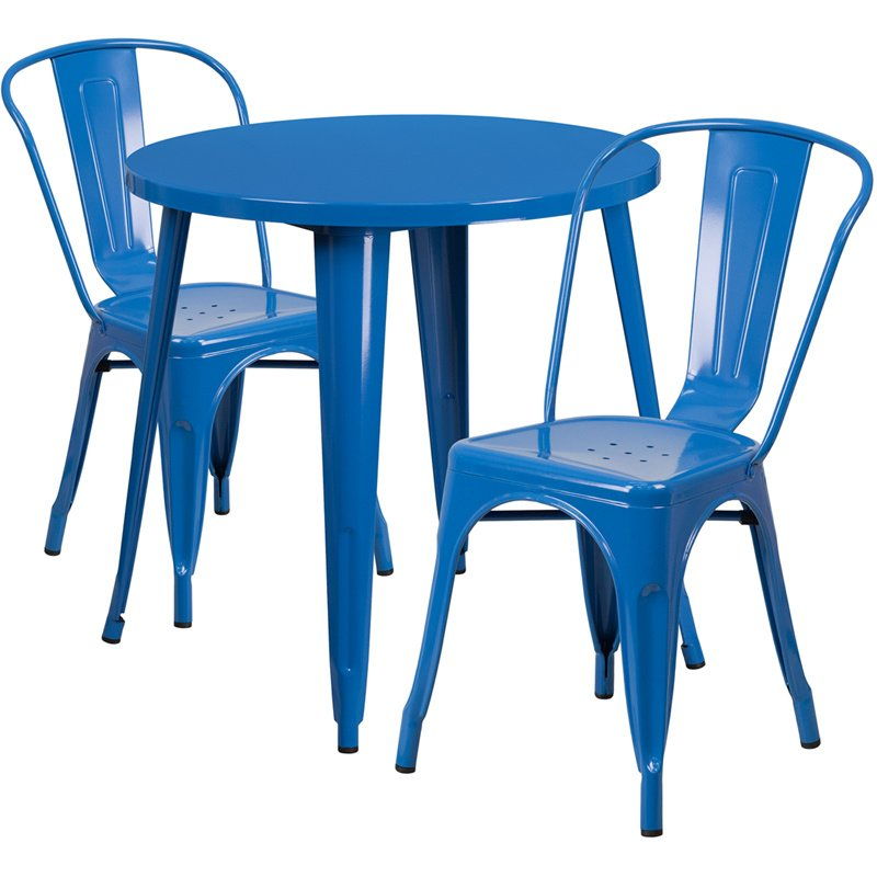 """Flash Furniture 30"""" Round Blue Metal Indoor-Outdoor Table Set with 2 Cafe Chairs (CH-51090TH-2-18CAFE-BL-GG)"""
