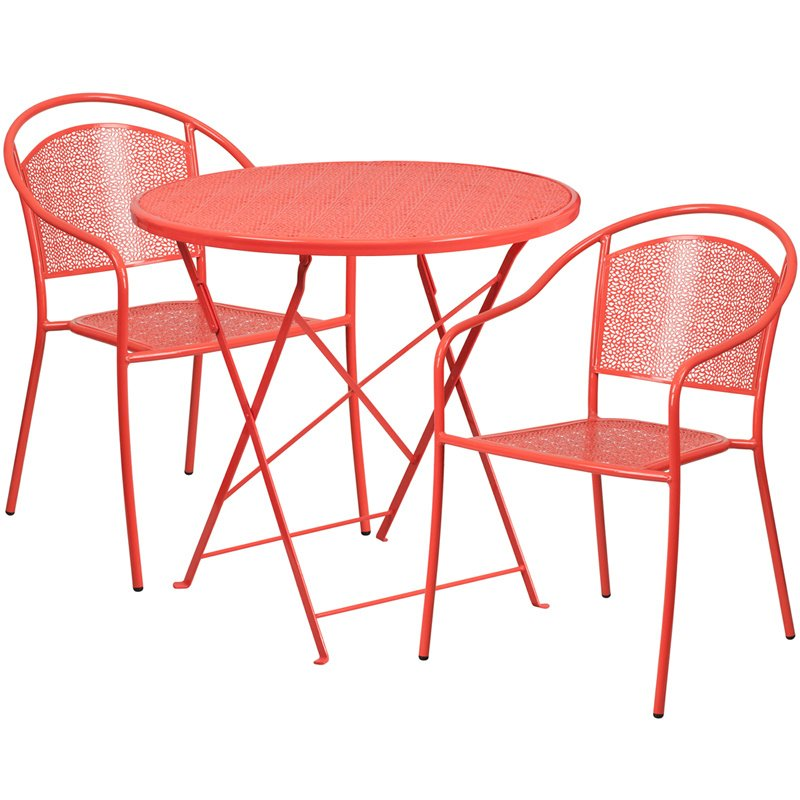"""Flash Furniture 30"""" Round Coral Indoor-Outdoor Steel Folding Patio Table Set with 2 Round Back Chairs"""