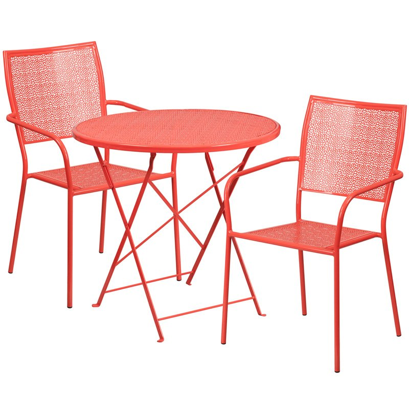 """Flash Furniture 30"""" Round Coral Indoor-Outdoor Steel Folding Patio Table Set with 2 Square Back Chairs"""