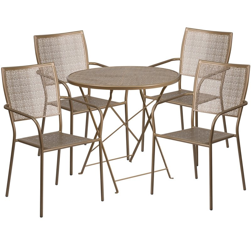 """Flash Furniture 30"""" Round Gold Indoor-Outdoor Steel Folding Patio Table Set with 4 Square Back Chairs"""
