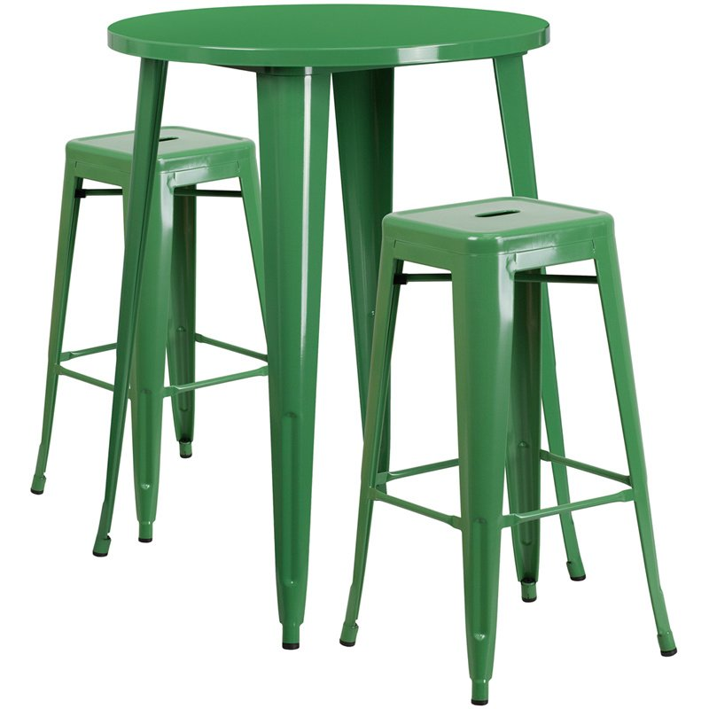 """Flash Furniture 30"""" Round Green Metal Indoor-Outdoor Bar Table Set with 2 Square Seat Backless Barstools (CH-51090BH-2-30SQST-GN-GG)"""