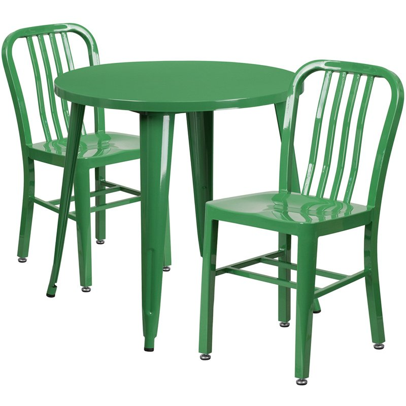 """Flash Furniture 30"""" Round Green Metal Indoor-Outdoor Table Set with 2 Vertical Slat Back Chairs (CH-51090TH-2-18VRT-GN-GG)"""