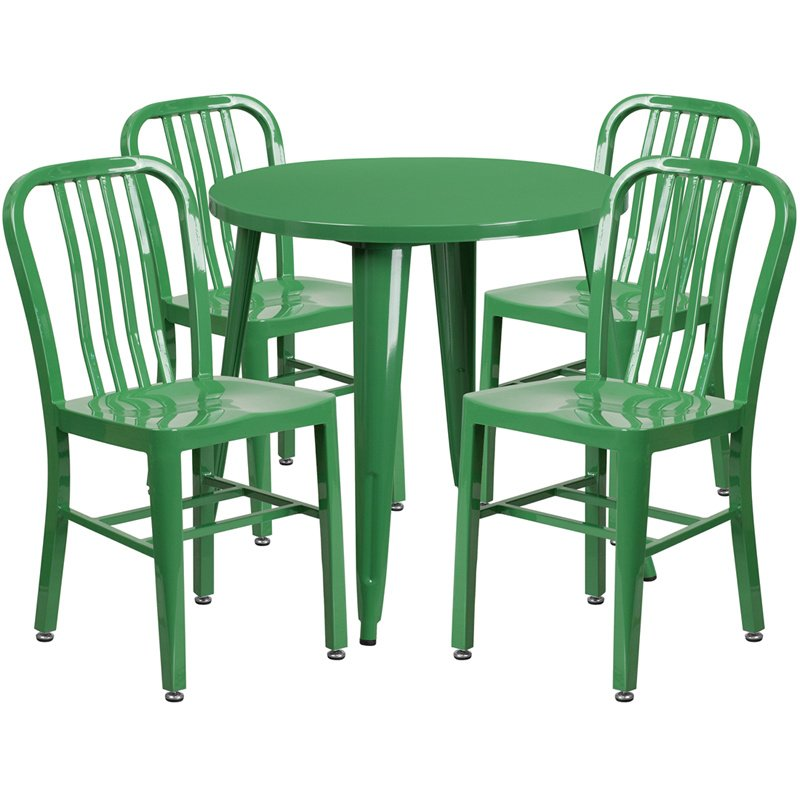 """Flash Furniture 30"""" Round Green Metal Indoor-Outdoor Table Set with 4 Vertical Slat Back Chairs (CH-51090TH-4-18VRT-GN-GG)"""
