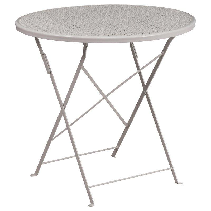 "Flash Furniture 30"" Round Light Gray Indoor-Outdoor Steel Folding Patio Table"