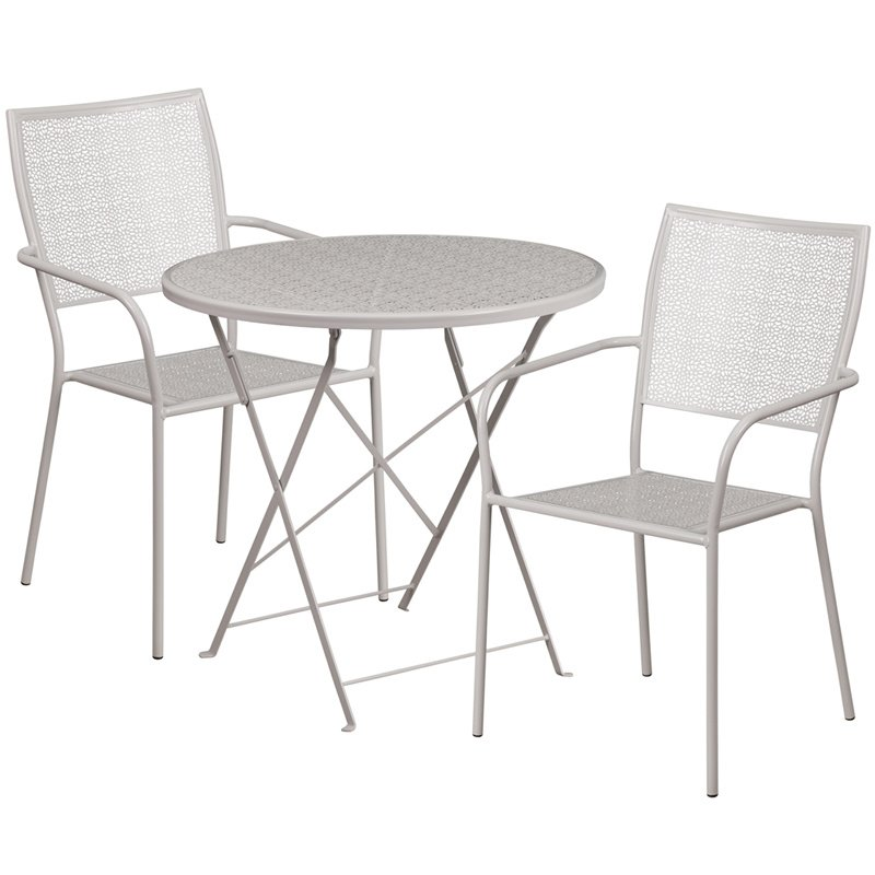 """Flash Furniture 30"""" Round Light Gray Indoor-Outdoor Steel Folding Patio Table Set with 2 Square Back Chairs"""