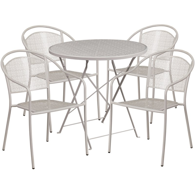 """Flash Furniture 30"""" Round Light Gray Indoor-Outdoor Steel Folding Patio Table Set with 4 Round Back Chairs"""