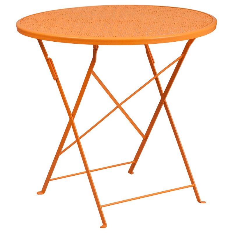 "Flash Furniture 30"" Round Orange Indoor-Outdoor Steel Folding Patio Table"