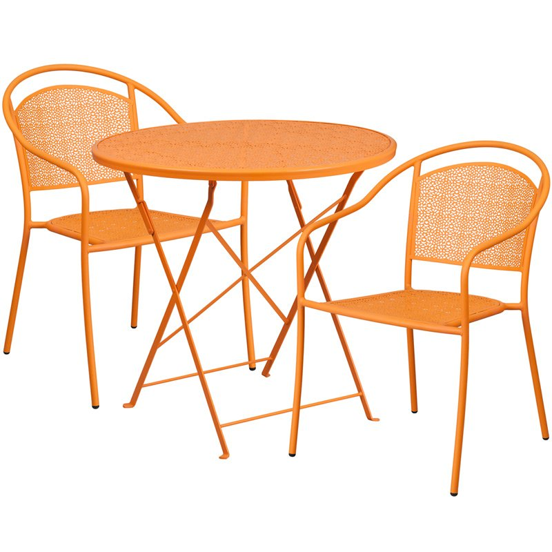 """Flash Furniture 30"""" Round Orange Indoor-Outdoor Steel Folding Patio Table Set with 2 Round Back Chairs"""