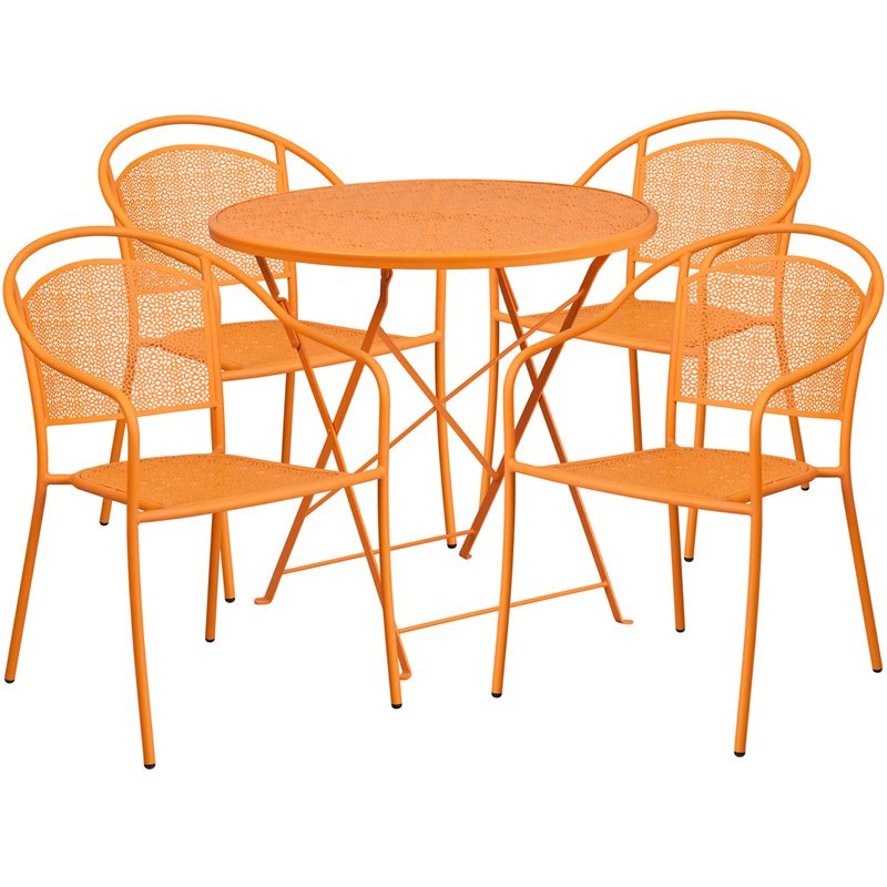 "Flash Furniture 30"" Round Orange Indoor-Outdoor Steel Folding Patio Table Set with 4 Round Back Chairs"