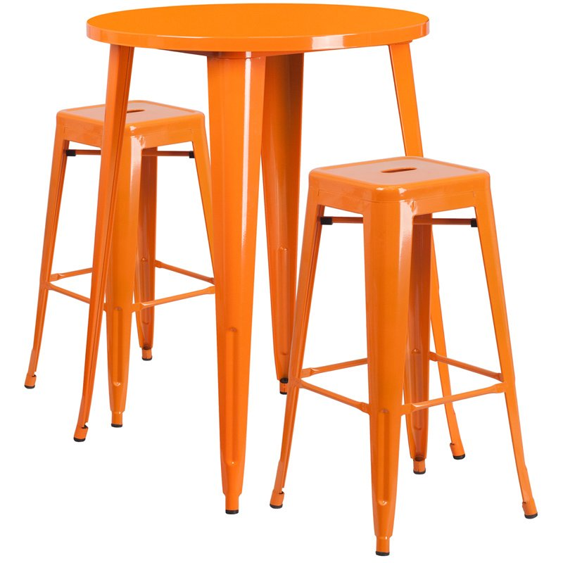 """Flash Furniture 30"""" Round Orange Metal Indoor-Outdoor Bar Table Set with 2 Square Seat Backless Barstools (CH-51090BH-2-30SQST-OR-GG)"""