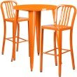 "Flash Furniture 30"" Round Orange Metal Indoor-Outdoor Bar Table Set with 2 Vertical Slat Back Barstools (CH-51090BH-2-30VRT-OR-GG)"