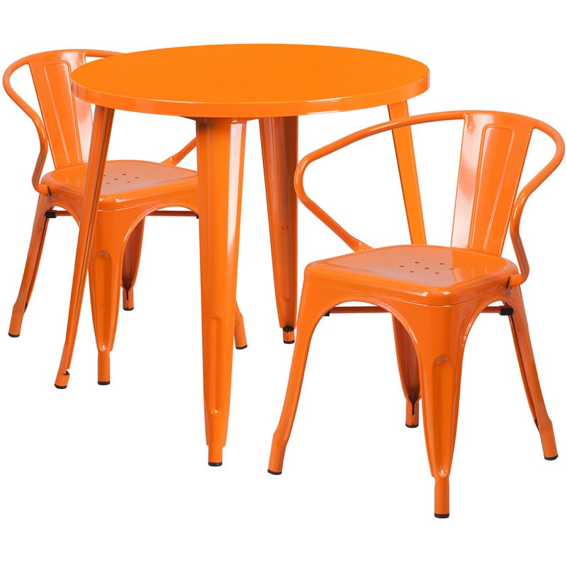 """Flash Furniture 30"""" Round Orange Metal Indoor-Outdoor Table Set with 2 Arm Chairs (CH-51090TH-2-18ARM-OR-GG)"""