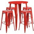 "Flash Furniture 30"" Round Red Metal Indoor-Outdoor Bar Table Set with 4 Square Seat Backless Barstools (CH-51090BH-4-30SQST-RED-GG)"