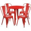 """Flash Furniture 30"""" Round Red Metal Indoor-Outdoor Table Set with 4 Cafe Chairs (CH-51090TH-4-18CAFE-RED-GG)"""