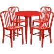 "Flash Furniture 30"" Round Red Metal Indoor-Outdoor Table Set with 4 Vertical Slat Back Chairs (CH-51090TH-4-18VRT-RED-GG)"