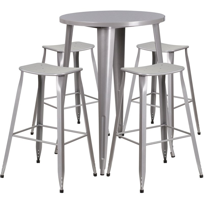 """Flash Furniture 30"""" Round Silver Metal Indoor-Outdoor Bar Table Set with 4 Backless Saddle Seat Barstools (CH-51090BH-4-ET30ST-SIL-GG)"""