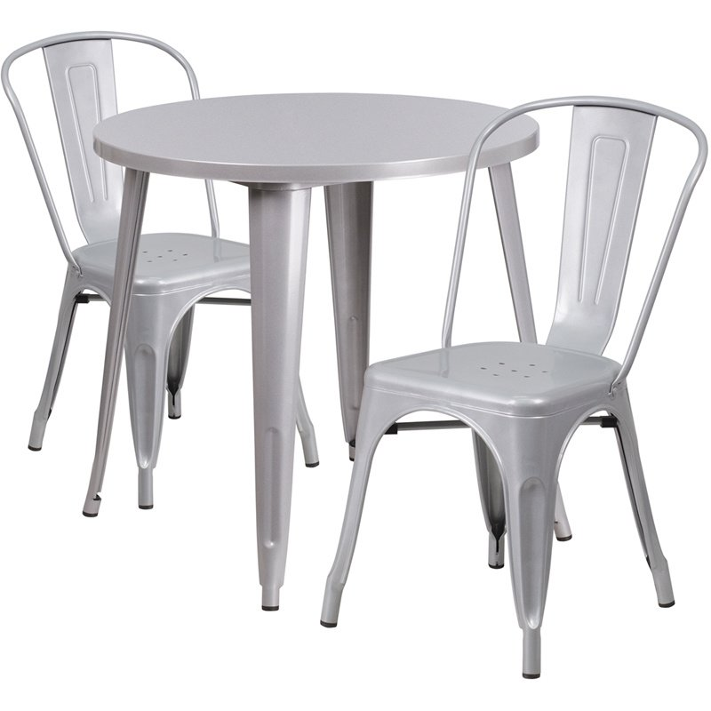 """Flash Furniture 30"""" Round Silver Metal Indoor-Outdoor Table Set with 2 Cafe Chairs (CH-51090TH-2-18CAFE-SIL-GG)"""